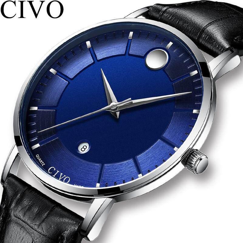 CIVO New Fashion Mens Watches Stainless Steel / Genuine Leather Minimalist Quartz Watch Men Calendar Waterproof Gents Clock Wristwatch for Man Malaysia