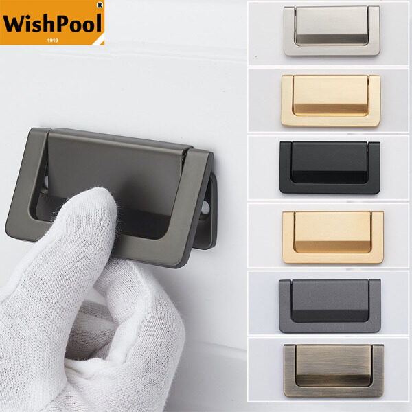 WISHPOOL Drawer Bedside Table Concealed Buckle Flat Handle Tatami Invisible Simple Free Punching Handle