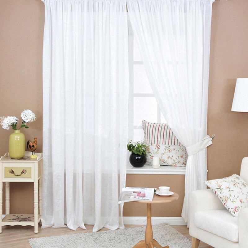 Rèm Cửa Sổ Màu Trơn, Diềm Vải Tuyn Voan Xuyên Thấu Hình Hoa Cho Phòng Ngủ