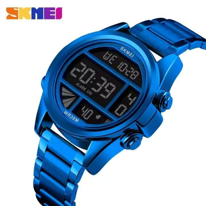 SKMEI stainless steel sports digital watch mens business alloy waterproof watch new luxury gold medal Relogio Masculino Malaysia