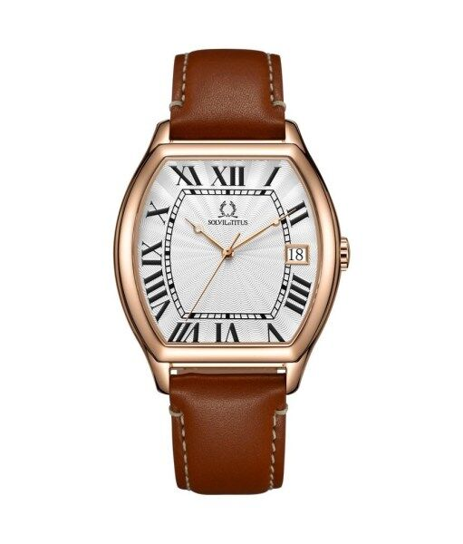 Solvil et Titus W06-03163-006 Mens Quartz Analogue Watch in Silver White Dial and Leather Strap Malaysia