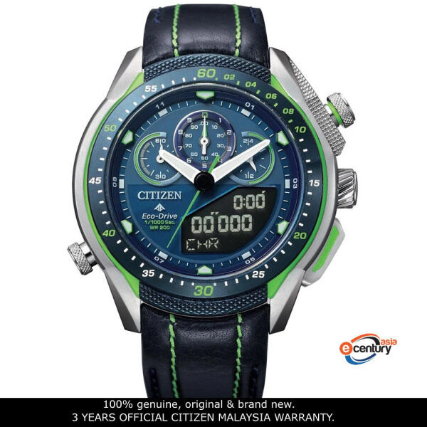 Citizen JW0148-12L Mens EcoDrive Promaster Land Chronograph Analog-Digital Black Leather Strap Watch Malaysia