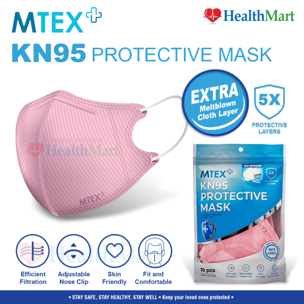 MTEX 5-Ply KN95 Disposable Protective Mask 1 Pack - 10pcs (PINK)