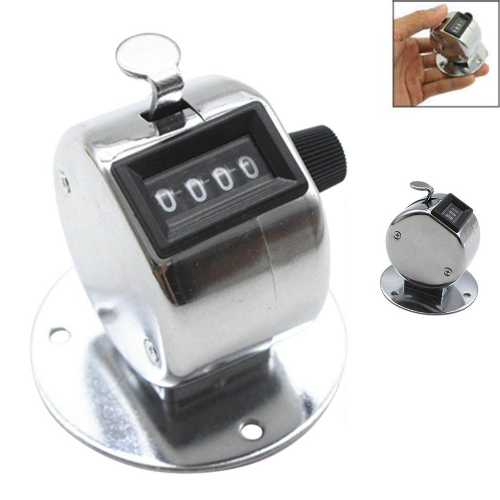 Hand Tally Counter with Base Digit Finger Ring Desktop Silver Tally 4 Digit Palm Counters