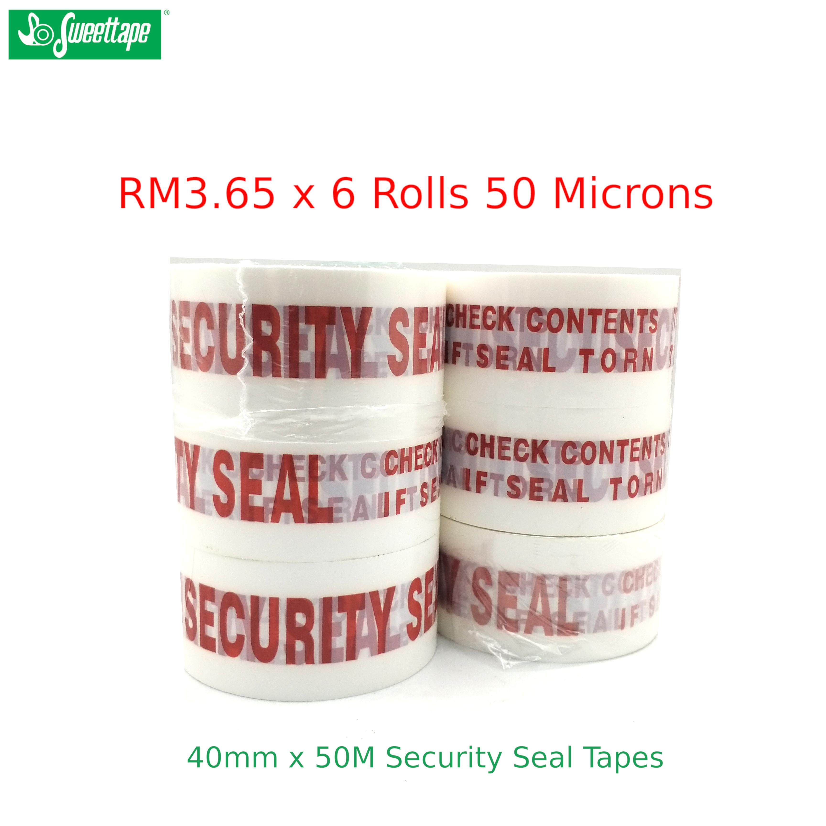 6 Rolls Heavy Duty 50μ White Security Seal OPP Tapes 48mm x 50m
