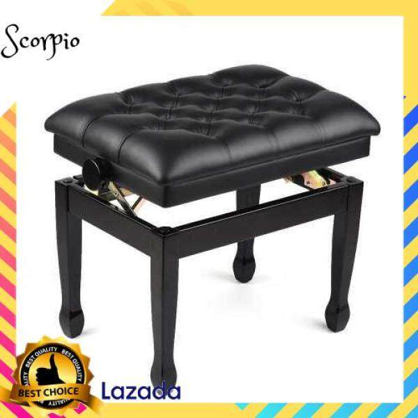 BEST SELLER Deluxe Wooden Piano Bench Stool Comfortable Soft Cushion Padded Adjustable Height Black (Standard) Malaysia