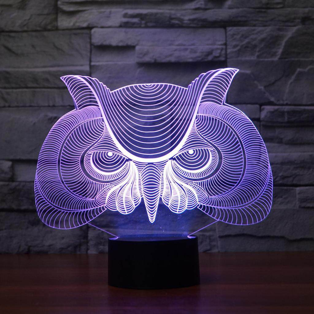 Perfk Hunting Eagle Owl 3D LED Night Light 7 Color Touch Switch Desk Lamp Decor