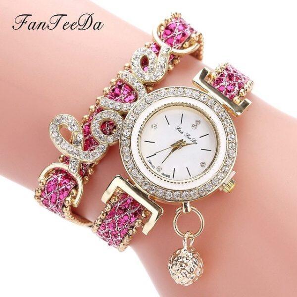 FanTeeDa Top Brand Women Bracelet Watches Ladies Love Leather Strap Rhinestone Quartz Wrist Watch Luxury Fashion Quartz Watch Malaysia