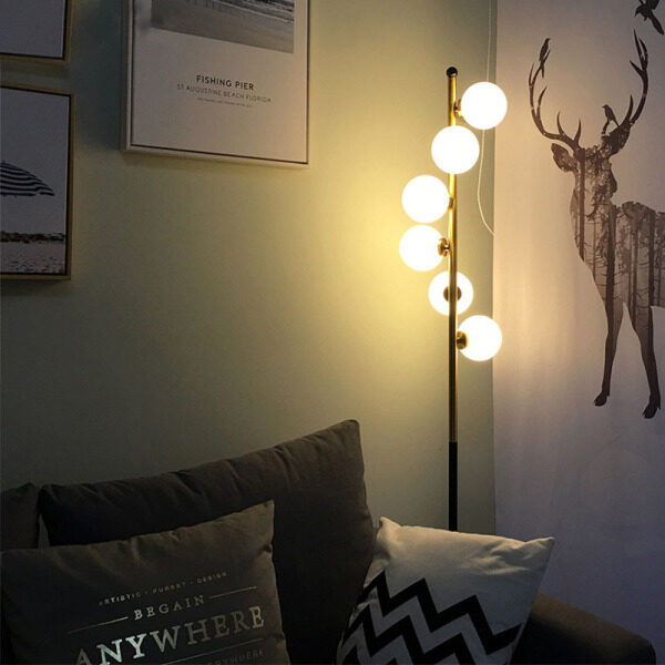 QUKAU Simple living room Nordic homestay bedside hotel room floor lamp golden post modern