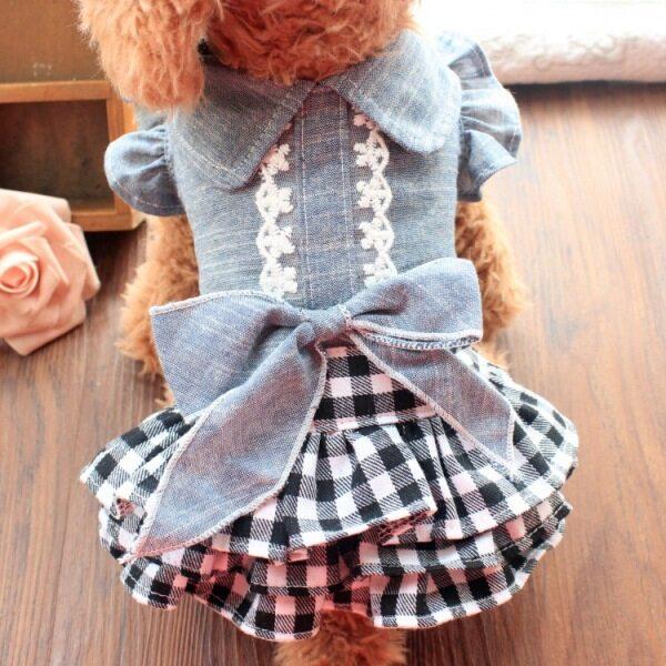 Jianjia28 Thời Trang Chó Quần Áo Ruffle Lưới Bow Công Chúa Ren Lớp Denim Váy Cho Chó Nhỏ