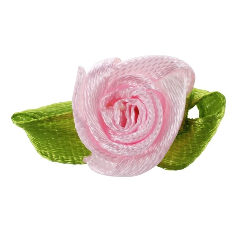 200pcs mini Satin Ribbon Flowers with leaf Appliques pink
