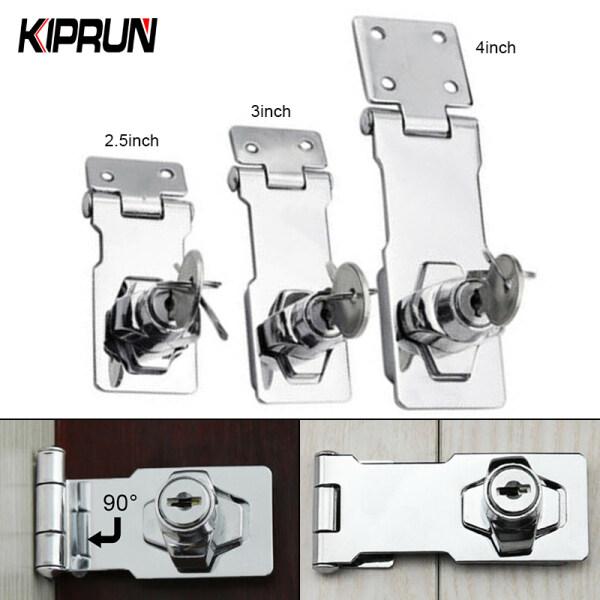 [Ready stock] KIPRUN Keyed Hasp Lock Twist Knob Keyed Locking Hasp, Lock Cylinder Hasp Copper Core Self Locking Security Staple  for Cupboard/Drawer/ Padlock Door/Gate/Van Locker