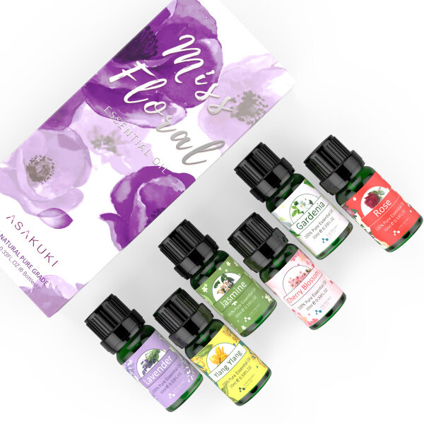 ASAKUKI Floral Essential Oils Gift Set, Aromatherapy Diffuser Oils Fragrance, 100% Pure Therapeutic Grade with Lavender, YlangYlang, Rose, Jasmine, Cherry Blossom, Gardenia, 10mL*6 Singapore
