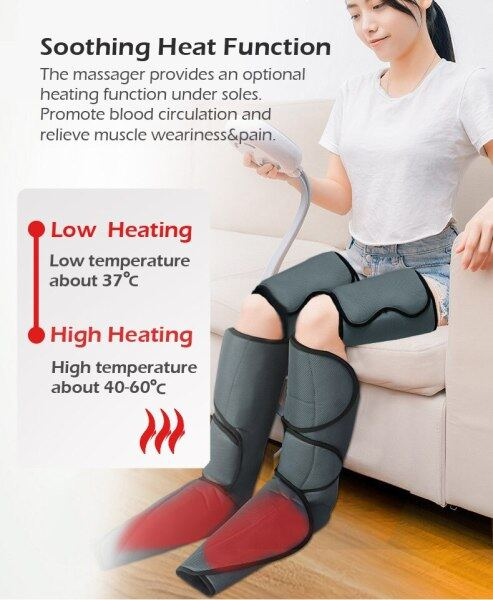 Buy Heating Air Compression Leg Therapy Massager Wraps Brace Belt Foot Calf Thigh Anti Cellulite Slimming Improve Blood Circulation with Handheld Controller 6 Modes 3 Intensities Singapore