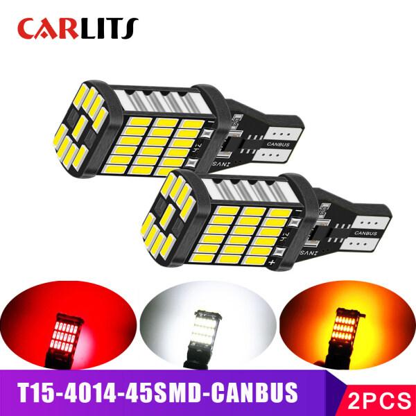 CARLITS 2 Bóng Đèn LED Ô Tô, Đèn Tín Hiệu LED T15 W16W T10 W5W Đèn Hậu Đỗ Xe Đảo Ngược 12V Canbus 4014 SMD Màu Trắng Siêu Sáng