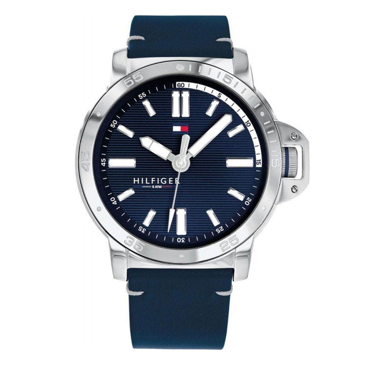 701c85d3 Tommy Hilfiger Diver Blue Stainless-Steel Case Leather Strap Mens 1791591