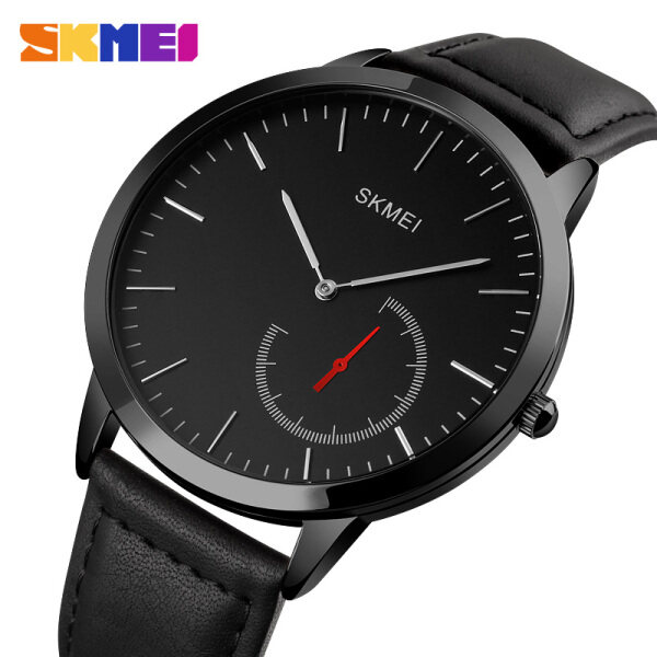 SKMEI Men Fashion Quartz Watch Simple Leather Strap Waterproof Wristwatches For Man 1676 Malaysia