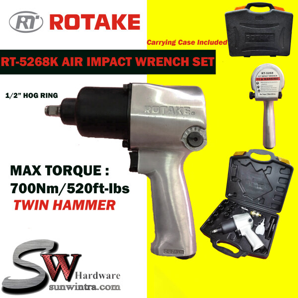 ROTAKE 1/2 SUPER DUTY HOG RING AIR IMPACT WRENCH RT-5268K COME WITH 8x IMPACT BOX SOCKET & CARRYING CASE