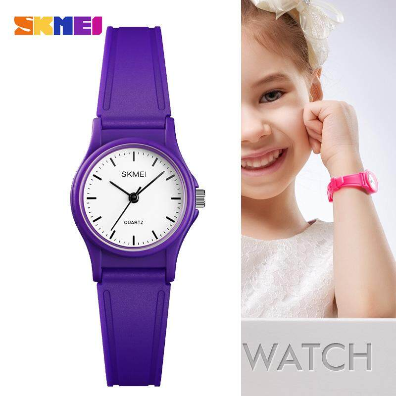 Bubblekiss SKMEI 1401 Outdoor Sport Kids Watches Simple Dress for Girls Children Watch 50M Waterproof PU Strap Quartz Boy Wristwatch + 2 PCS Free Gift (Women Fashion Diamond Love Bracelet + Mens Casual Leather Bracelet ) Malaysia
