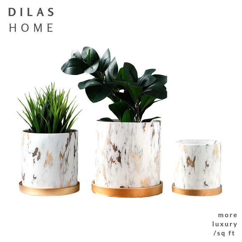 DILAS HOME Gold Marble Porcelain Ceramic Large Big Planter Plant Pot with Tray