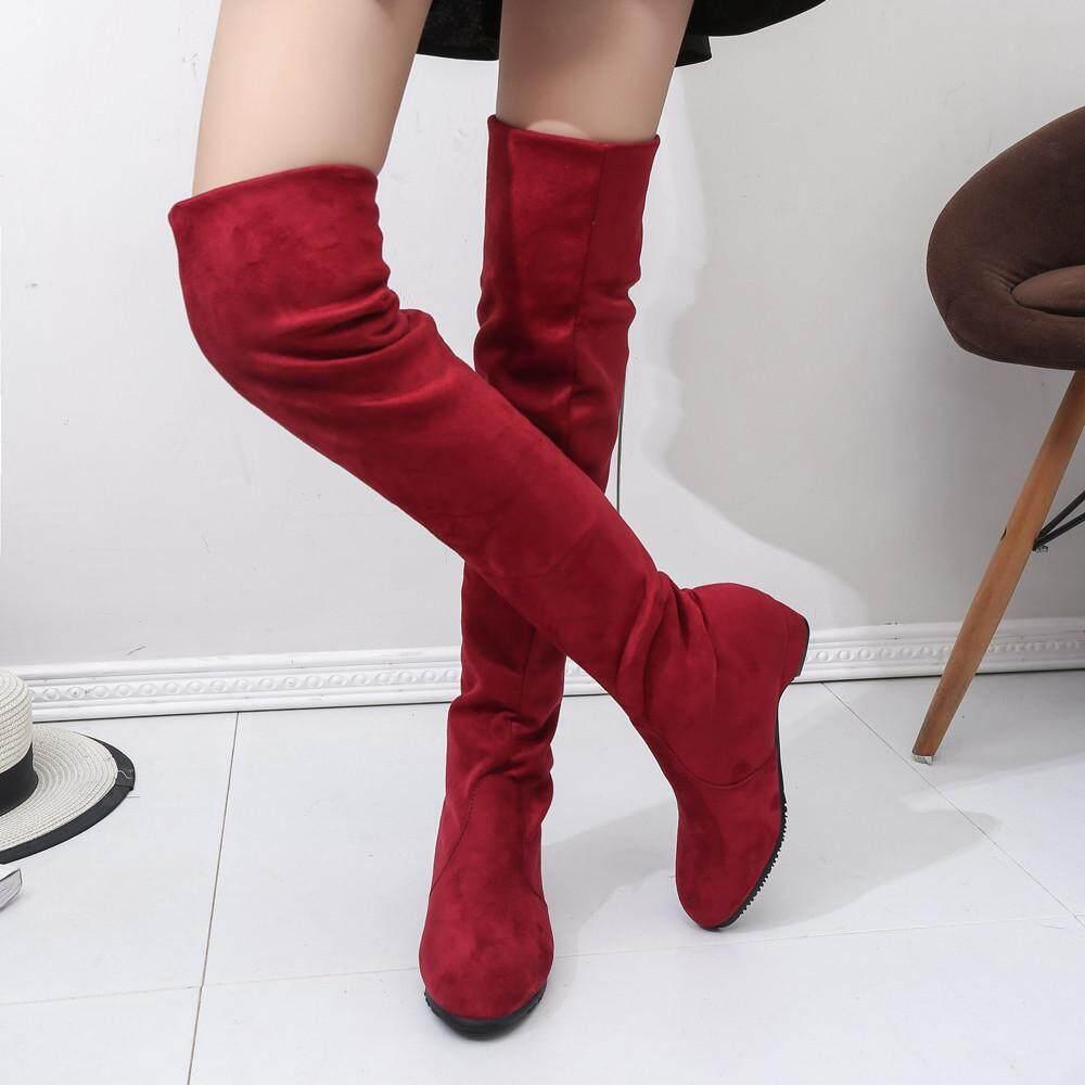 Tianji Store Women Winter Autumn Flat Boots Shoes High Leg Suede Short Long Boots By Tianji Store.