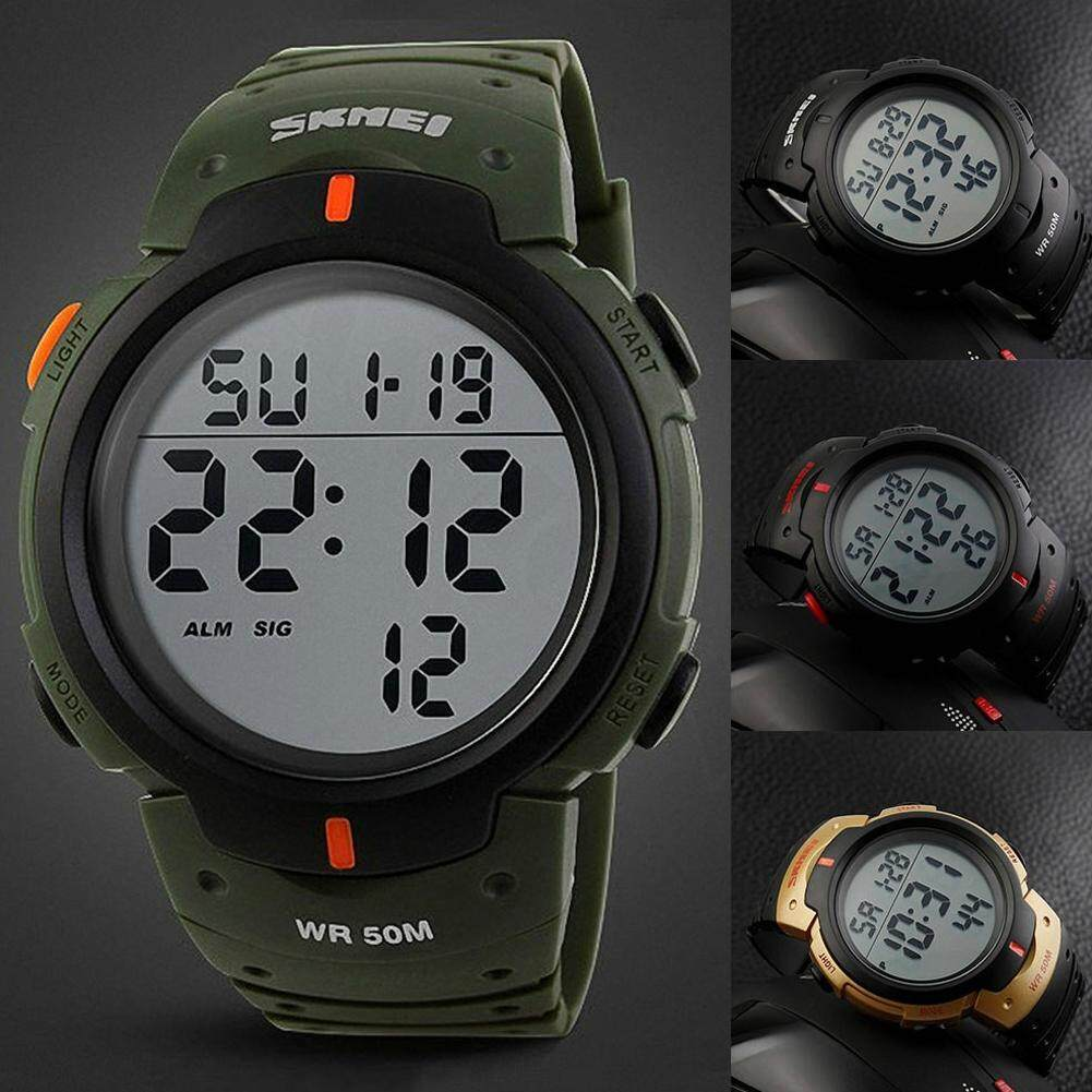 LF Smart Luminous Alarm Calendar Watch Camouflage Outdoor Sports Waterproof Men Wristwatch with PU Plastic Strap Malaysia