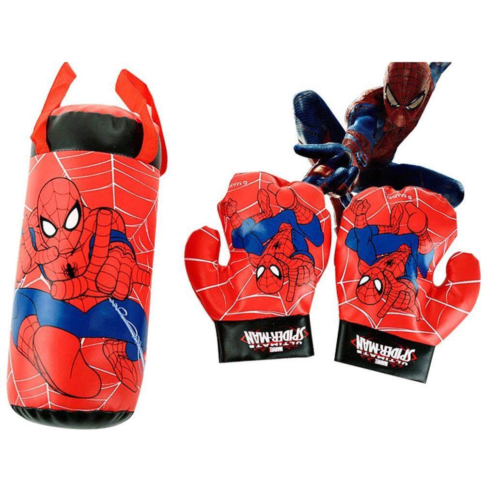 Spider Man Pattern Mini Boxing Gloves Toys Sandbag Hanging Set Decompression Puzzle Toys For Kids.