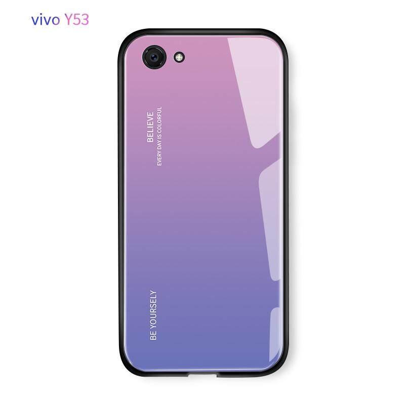 Mewah Aurora Rainbow Casing Gradien Seri Case Shockproof Kaca Antigores Penutup Belakang untuk VIVO Y53