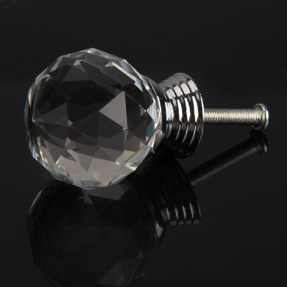 10X Crystal Transparan Kabinet Knob Laci Tarik Handle untuk Lemari Pintu