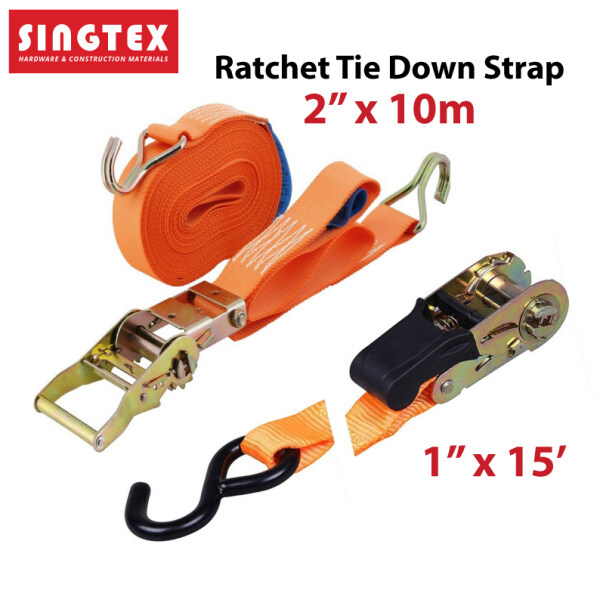 [READY STOCK] Ratchet Tie Down Straps w Hooks | Cargo Strap Hauling | Lorry Belt Kanvas | Premium Quality