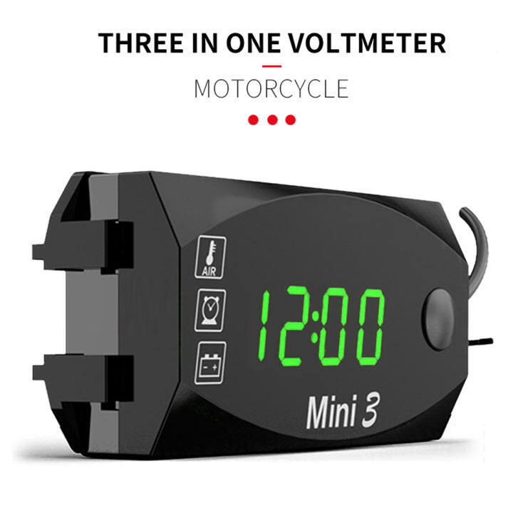 Tickas Voltage Voltmeter,Motorycycle DC 6V-30V 2 In 1 Digital Time Clock Voltage voltmeter IP67 Waterproof Tester Battery Moniter Gauge for Car Boat Marine