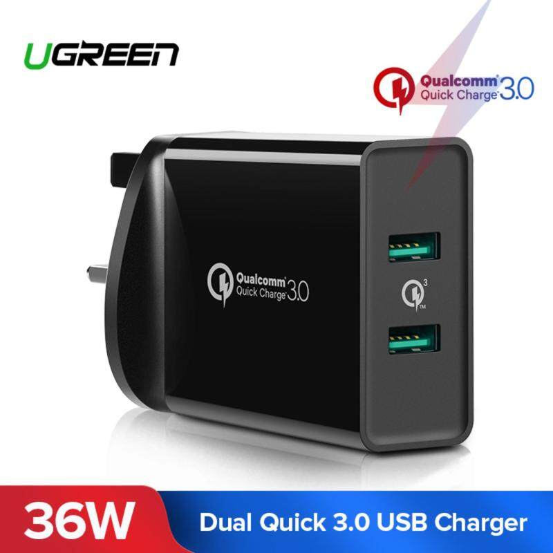 UGREEN 3 Pin UK Plug Quick Charger 3.0 USB Wall Charger, Dual USB Ports Fast Charger for Android,iOS Black