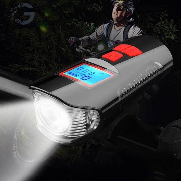 Đèn LED 3 trong 1 có cổng cắm sạc USB đo được vận tốc kết hợp chuông điện dùng để gắn phía trước xe đạp - INTL