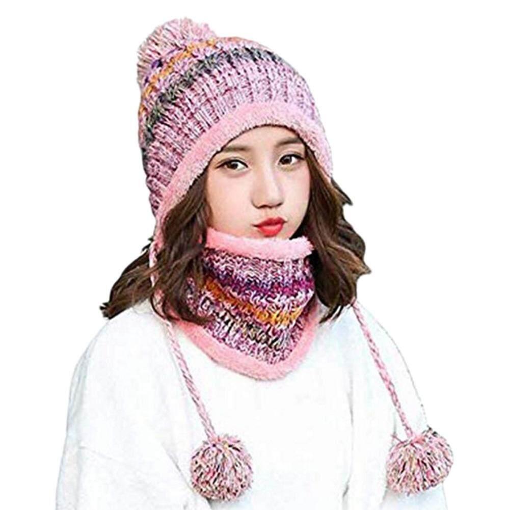 f51b2c80786d2f Winter Women's Hat Bib Set Knitted Warm Beanies With Three Pompom Ball  Female Balaclava Multi Functional
