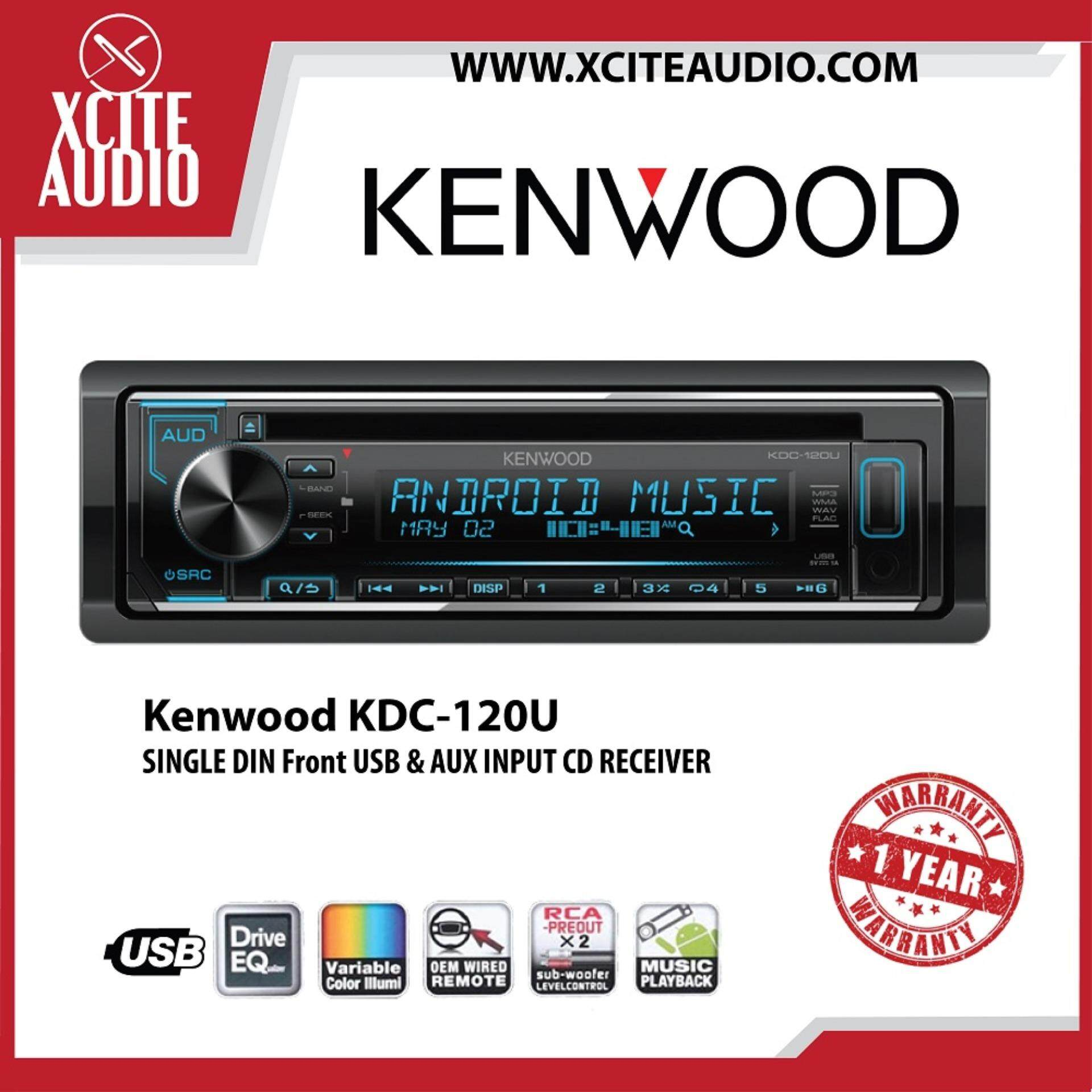 Kenwood KDC-120U Single Din Front USB & AUX Input CD Car Stereo Receiver  Headunit Player