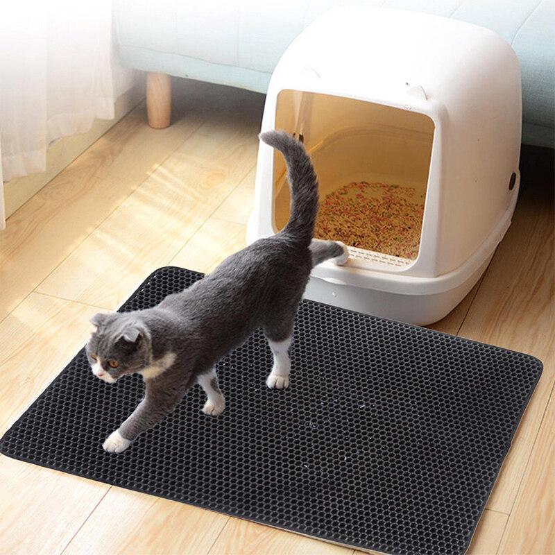 【Ready Stock】 (Mua 1 Nhận Được Quà Tặng Miễn Phí) Dễ Lau Chùi Không Thấm Nước Thảm Dành Cho Mèo Eva 45X60 Cm Màu Đen Hai Lớp Tấm Lót Vệ Sinh Cho Mèo Thảm Thu Thập Cát