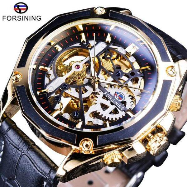 Forsining Transparent Case Gear Movement Steampunk Men Automatic Skeleton Watch Malaysia