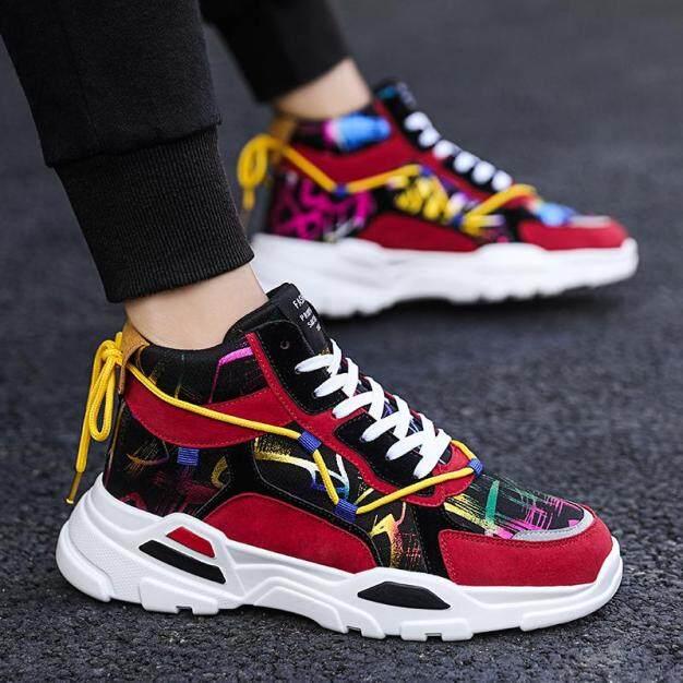 Giày sneaker thể thao nam đế cao chống trượt thiết kế họa tiết nổi bậ giá rẻ