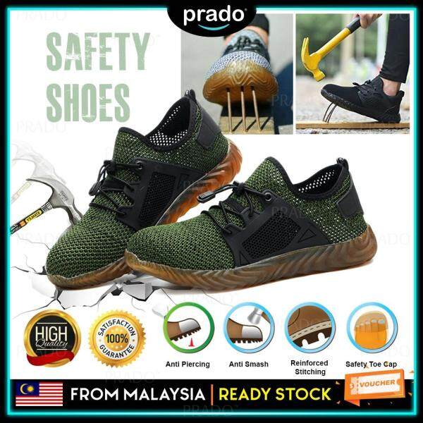PRADO Malaysia Breathable Steel Toe Military Safety Work Shoes Lightweight Mesh Indestructible Construction Boots Puncture Proof Sneakers Kasut keselamatan Kasut Kerja 703A