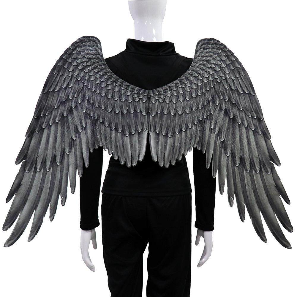LightSmile Unisex 3D Angel Wings Halloween Carnival Party Angel Devil Cosplay Costume Accessory White Black for Adult Kids