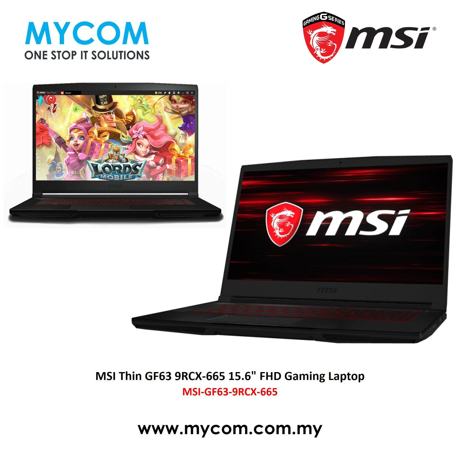 MSI Thin GF63 9RCX-665 15.6  FHD Gaming Laptop(I5-9300H,4GB,256GB,GTX1050 Ti 4GB,W10) Malaysia