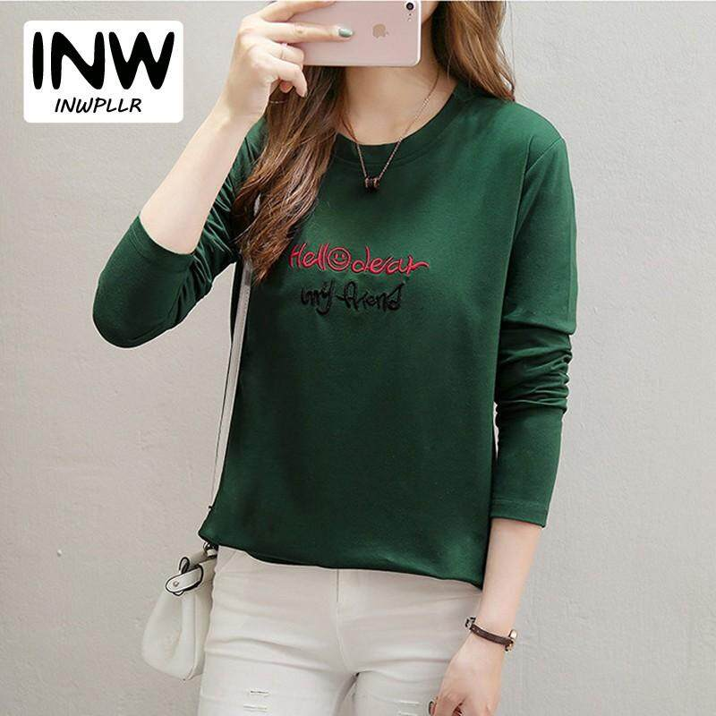 b3a1195be65 INWPLLR Autumn Women T-shirt Letter Embroidery Tops Tees Casual Long Sleeve  Cotton Tees Korean