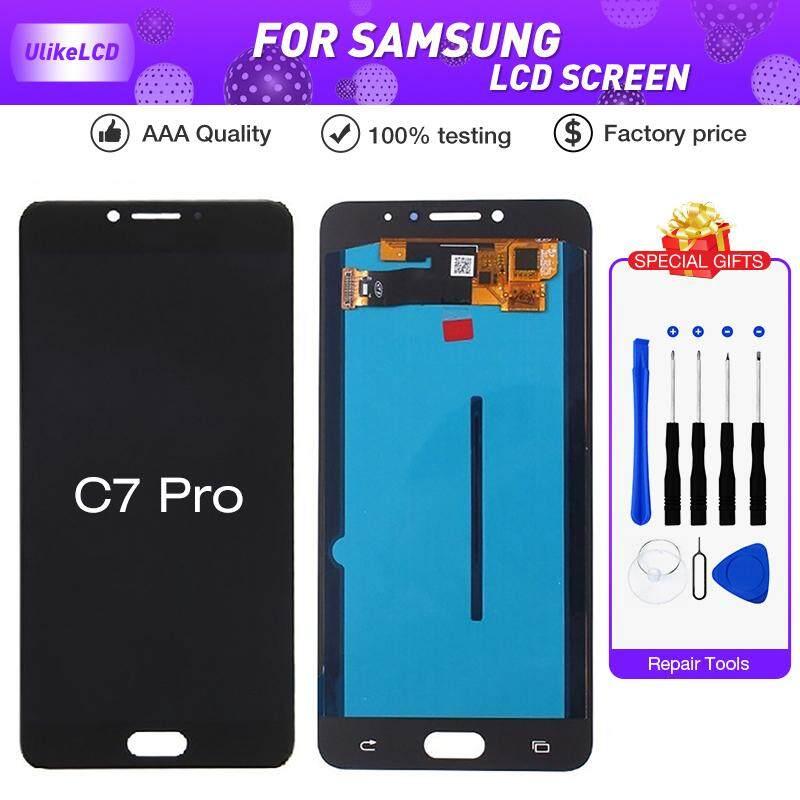 Super AMOLED Layar LCD untuk Samsung Galaxy C7 Pro C7010 Layar LCD Rakitan Digitizer Sembuh C7 PRO LCD + Alat