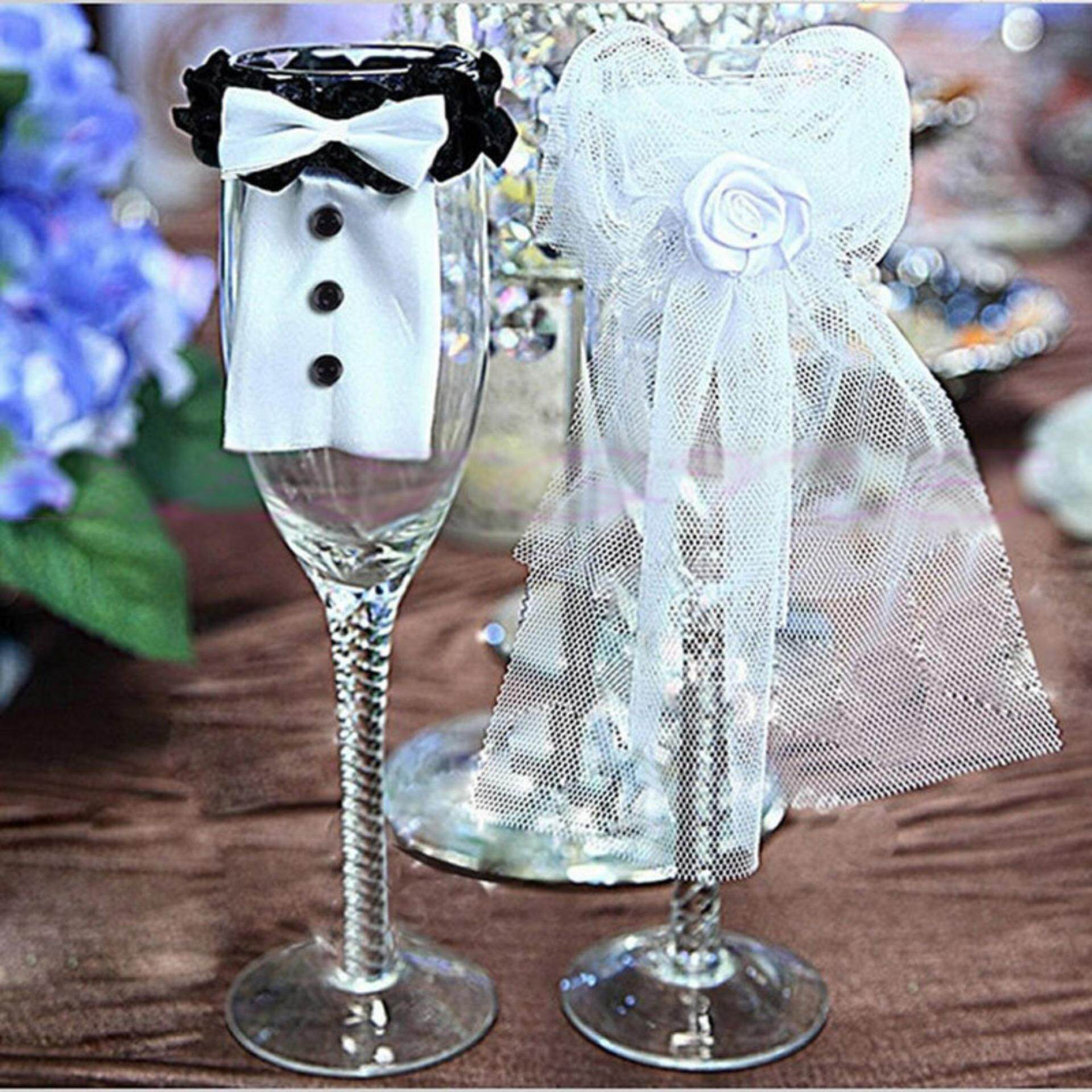 Couple Wedding Party Wine Glass Decor Bride Groom Tux Bridal Veil Toast Gift By Dragon Store.