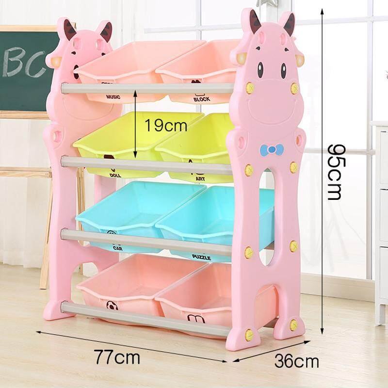 4 Layers Toy Rack, Bookshelf Childrens Toys Mini Multi-Function Plastic Box, Kids Toy Organizer and Storage Bins, 8-Bins in Fun Colors, Toy Storage Rack