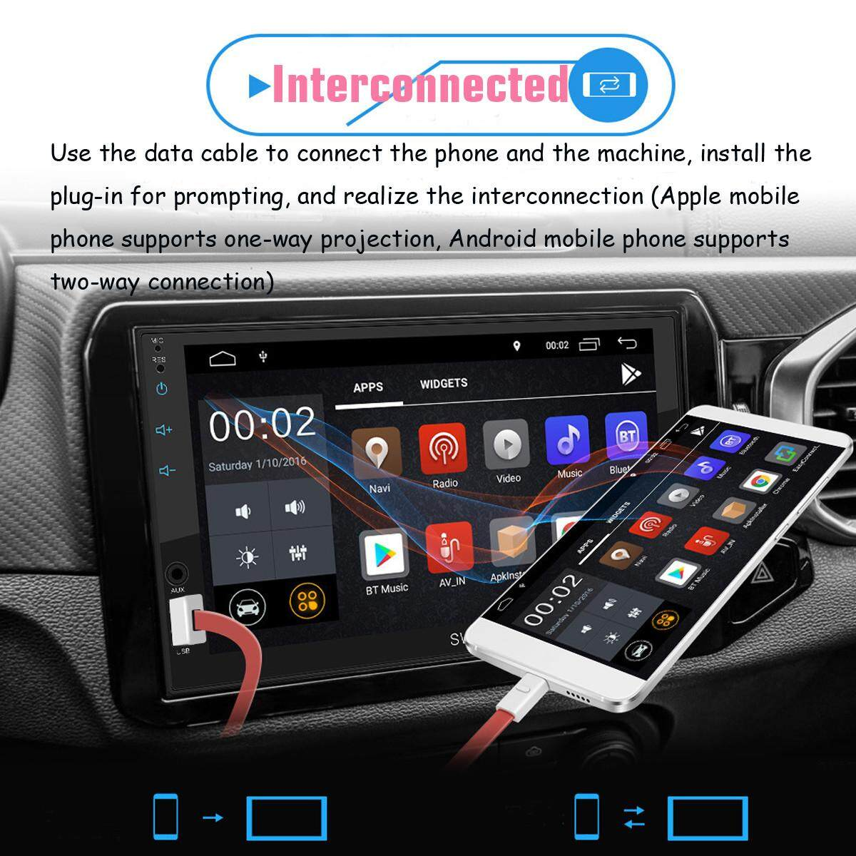 Swm-A1 7inch Android 8.1 Car Radio Stereo Gps Mavigation Multimedia Mp4 Player By Haldis.