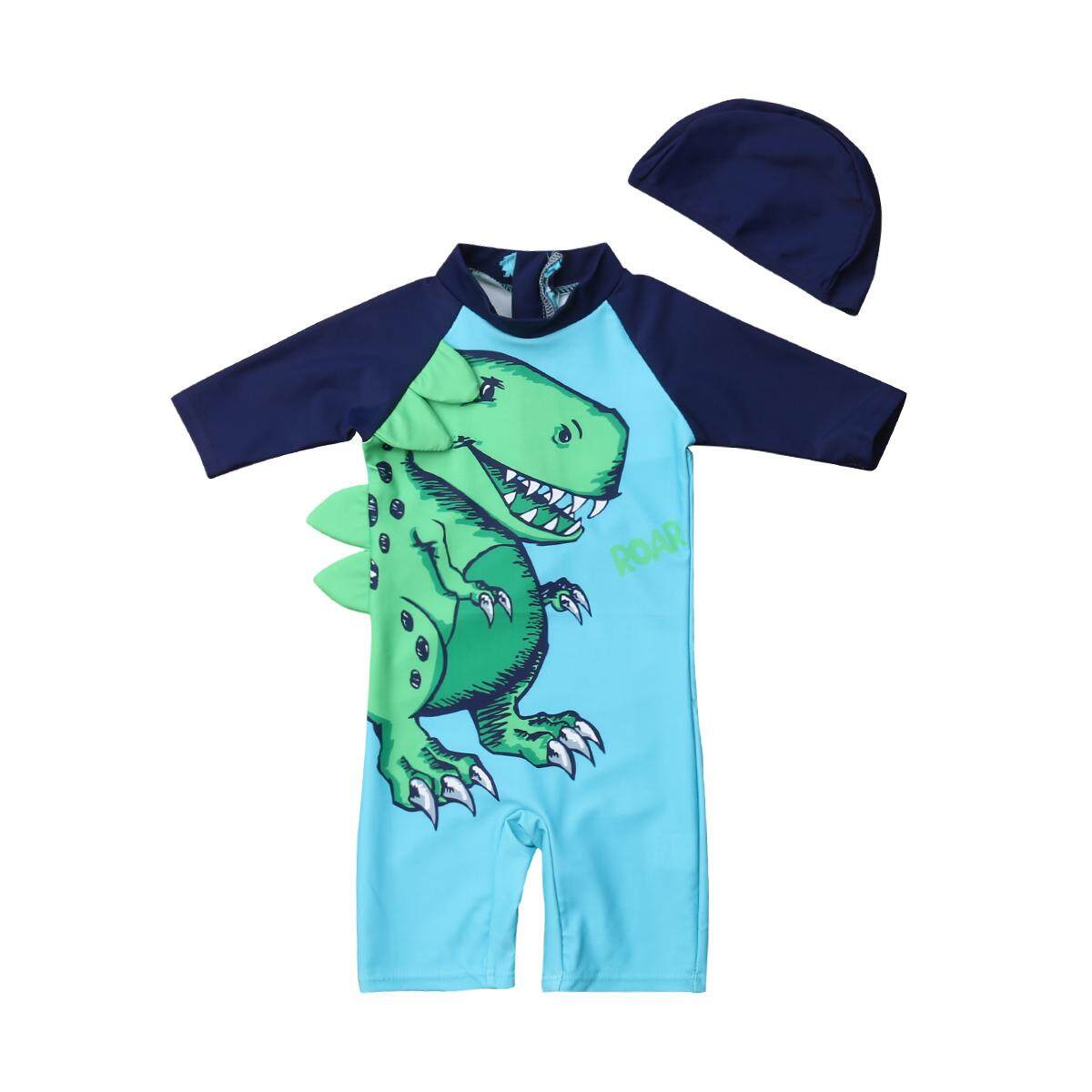 c11e4390f7 2019 Toddler Kids Baby Boy Girls Cartoon Rash Guard Sun Protective Rompers  Hat Outfits Surf Beach