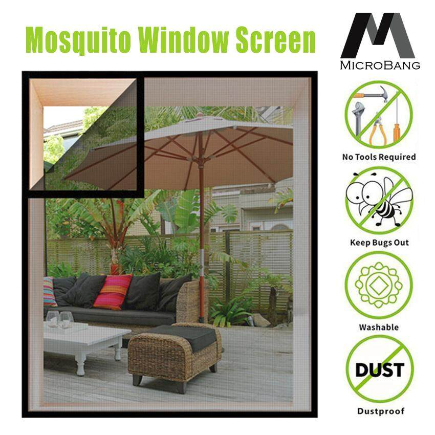 MicroBang  Mosquito Window Screen—DIY Customizable Adjustable Screen Window Fiber Glass Mesh Replacement Curtain Mosquito Net with Sticky Hook & Loop (4 Sizes Available)