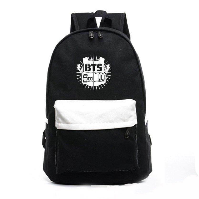 1f3c28762d OH Fashion BTS Soft Canvas Cloth Backpack Travel School Bag Printing Design