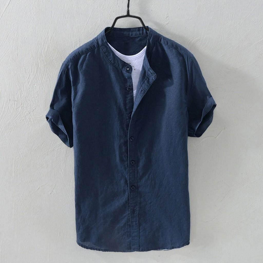c588213219ad Rainny Men's Baggy Cotton Linen Solid Short Sleeve Button Retro T Shirts  for men Tops Blouse